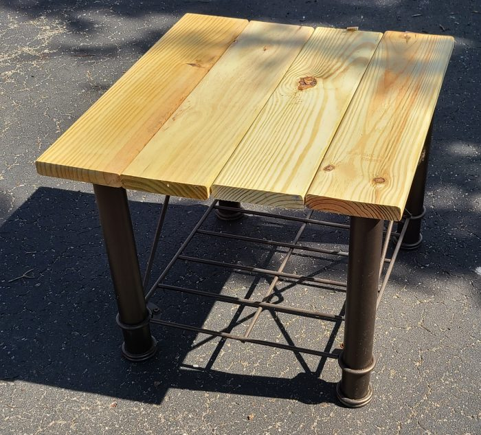 reclaimed wood and upcycled metal table