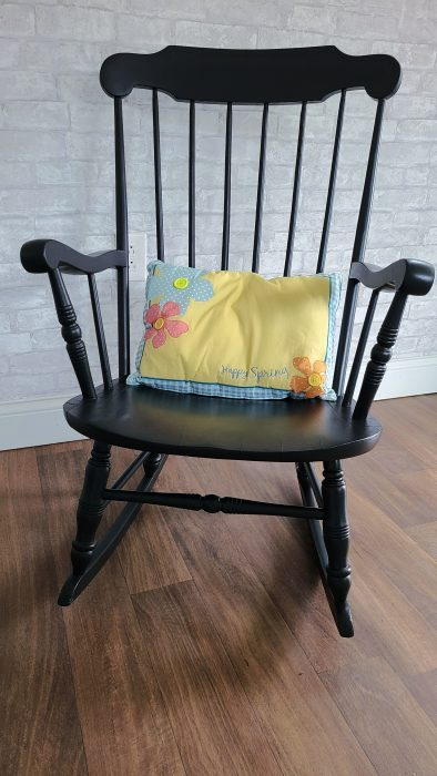 black wooden rocking chair makeover