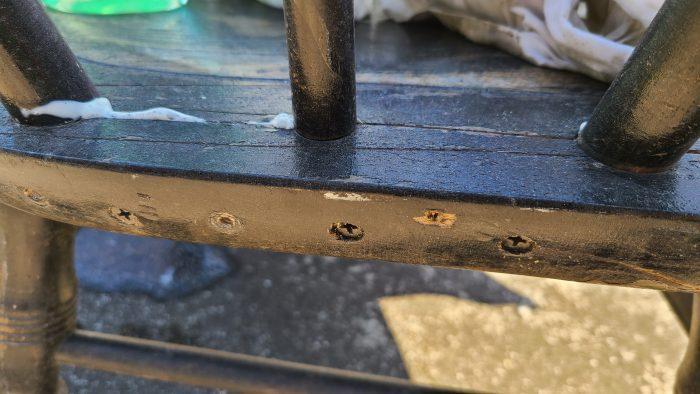 countersink screws to repair rocking chair seat