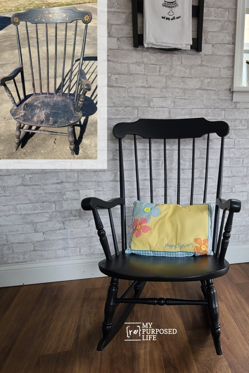 Steps for saving an old abused chair. In this wooden rocking chair makeover tutorial, you will see steps to bring an old piece back to life. Most people would throw this chair away. But it still had a lot of life left. #myrepurposedlife #trashtotreasure #furniture #makeover via @repurposedlife