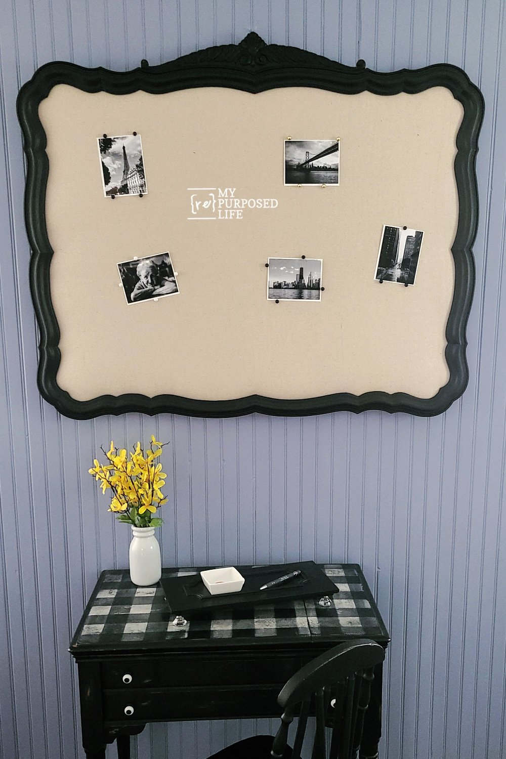 How to turn a plastic mirror frame into a bulletin board. Step by step directions for painting, adding batting and fabric. Fun DIY project! #MyRepurposedLife #repurposed #mirror #frame #bulletinboard #memo #photo via @repurposedlife