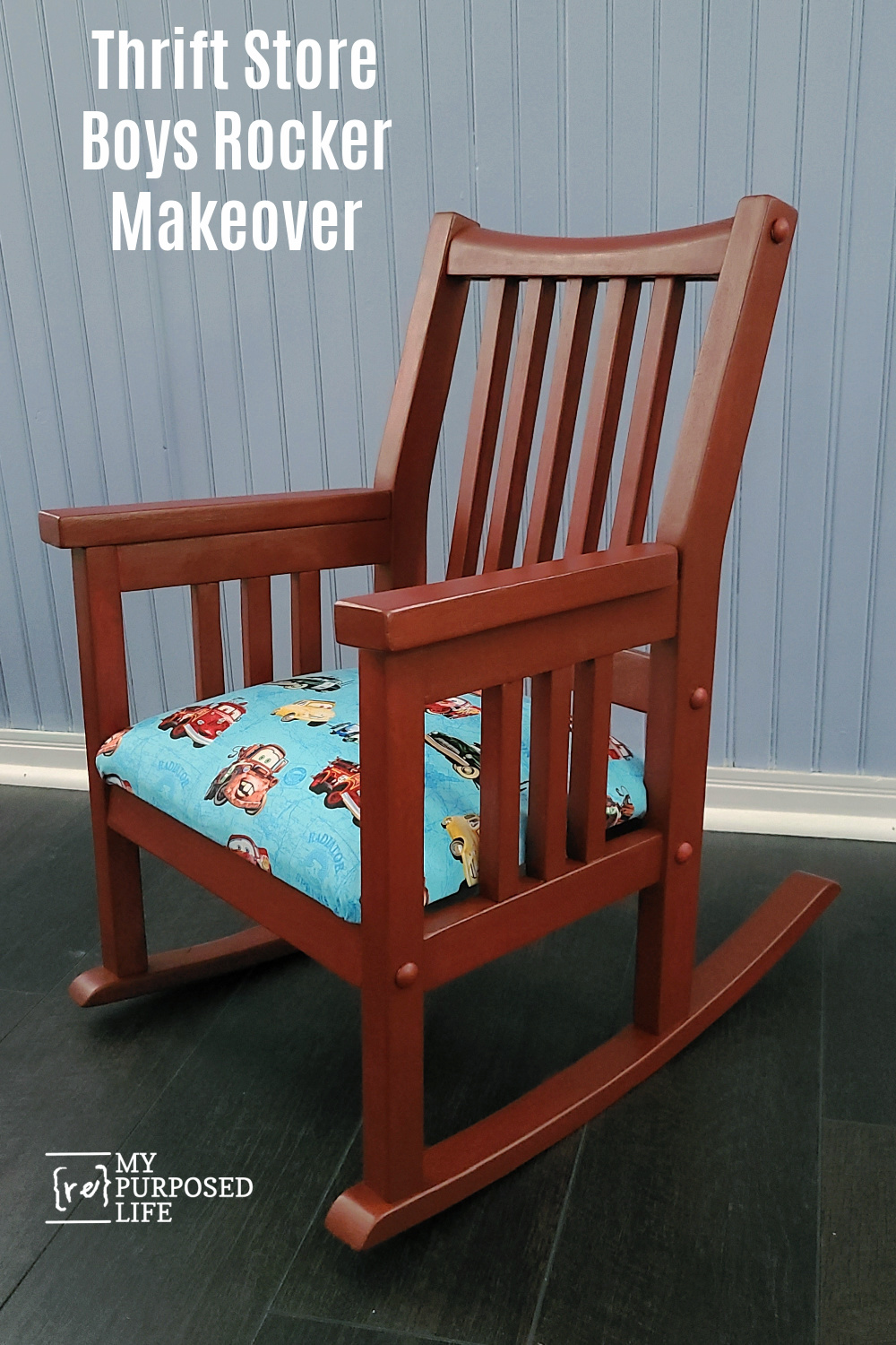How to paint a boys rocking chair red and recover the seat using CARS fabric with Mater and Lightning McQueen. Movie fans will love it! Lots of tips for an easy makeover. #MyRepurposedLife #kidsfurniture #rockingchair #cars #mater #lightningMcqueen via @repurposedlife