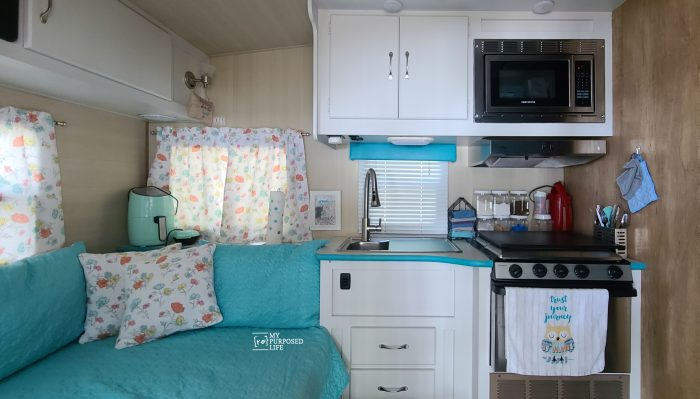 light grey painted cabinets in camper