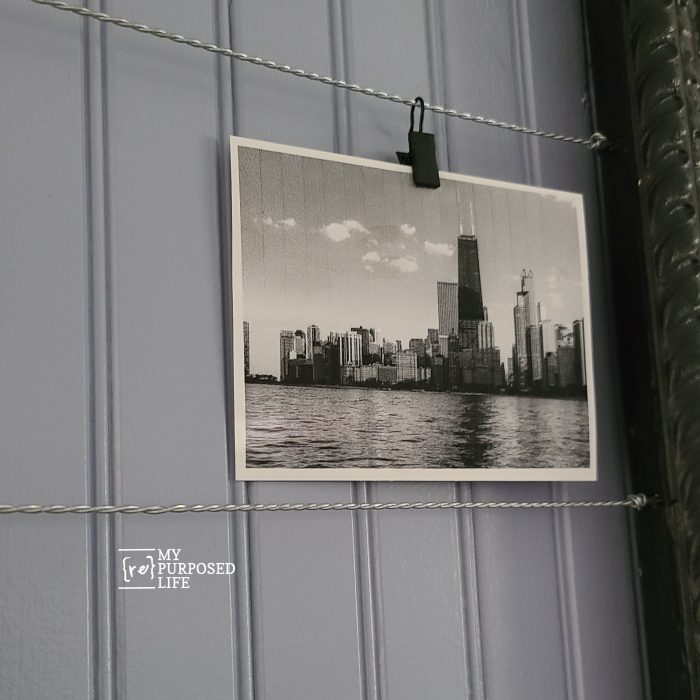 wired photo display repurposed frame
