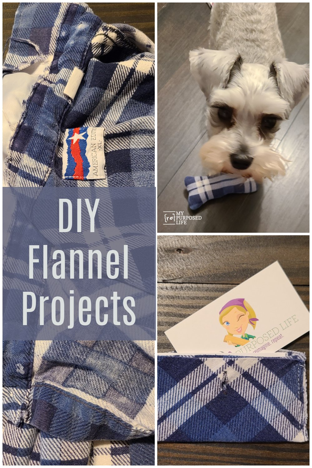 DIY Flannel projects for you and your dog! Using the book Crafting With Flannel, I made my own projects. Sharing more projects from friends. #MyRepurposedLife #repurposed #flannel #projects #easy #craftingwithflannel via @repurposedlife